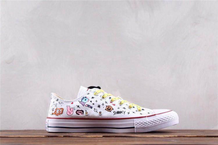 f0b4c05817c2 Converse Official WOMEN Skateboarding Shoes X BT21 Low Top Global Sales (  Black White )
