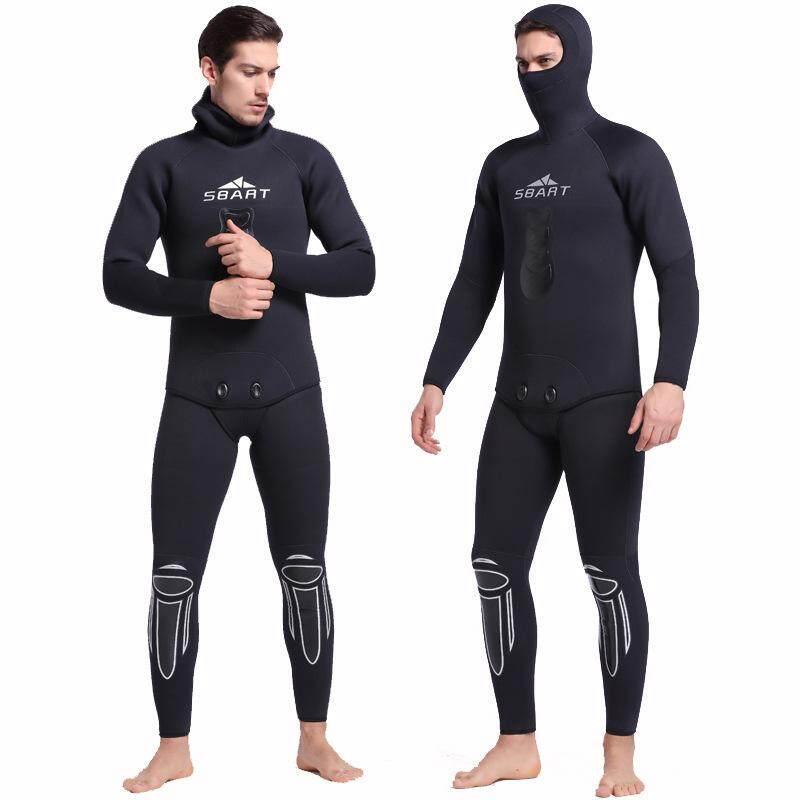 068160a6f56 SBART Hooded Men Spearfishing Wetsuit 3mm Neoprene Two Piece Swimsuit Keep  Warm Swimwear Long Sleeve Beach