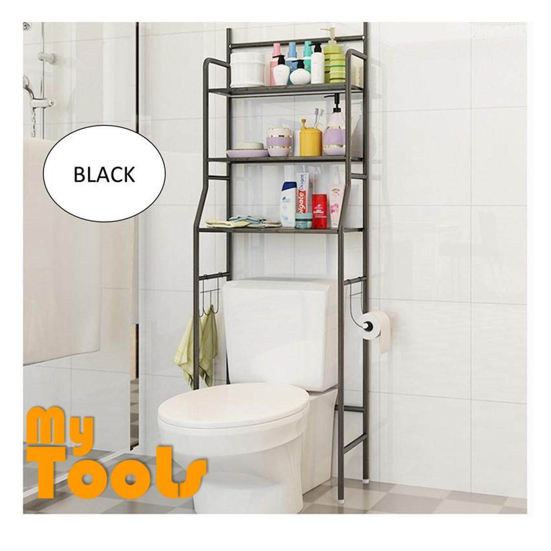 3 Tiers Bathroom And Toilet Organizer Shelves Rack  Black