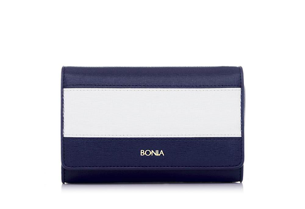 Bonia Dark Blue The Line Trifold Wallet