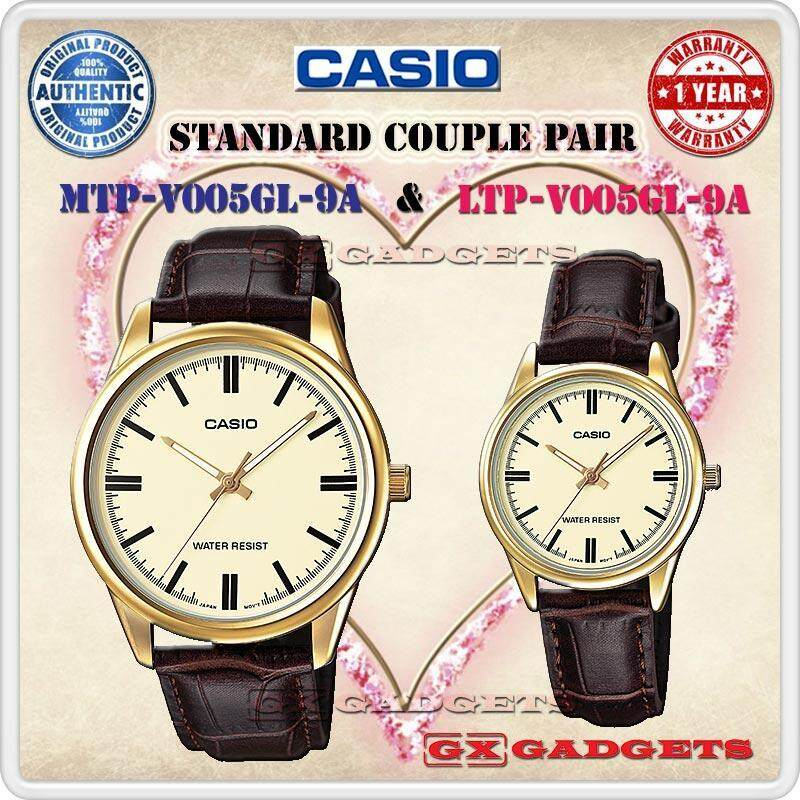 CASIO MTP-V005GL-9A + LTP-V005GL-9A STANDARD Analog Couple Pair Watch Leather Band Gold Case Water Resistant MTP-V005 LTP-V005 V005 Series Malaysia
