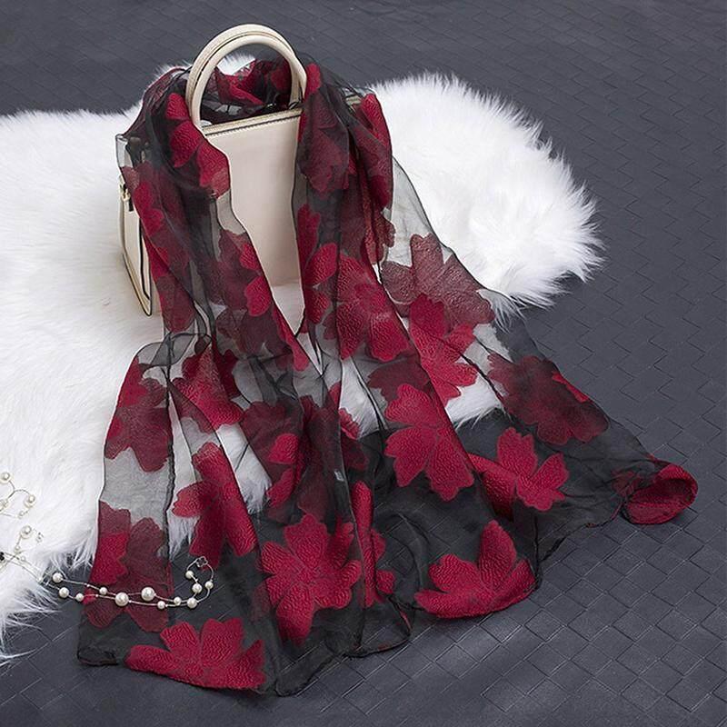 d2ab5b2f9ee Fashion Elegant Women Flower yarn Long Scarf Soft Shawl Gift Wine Red SUN