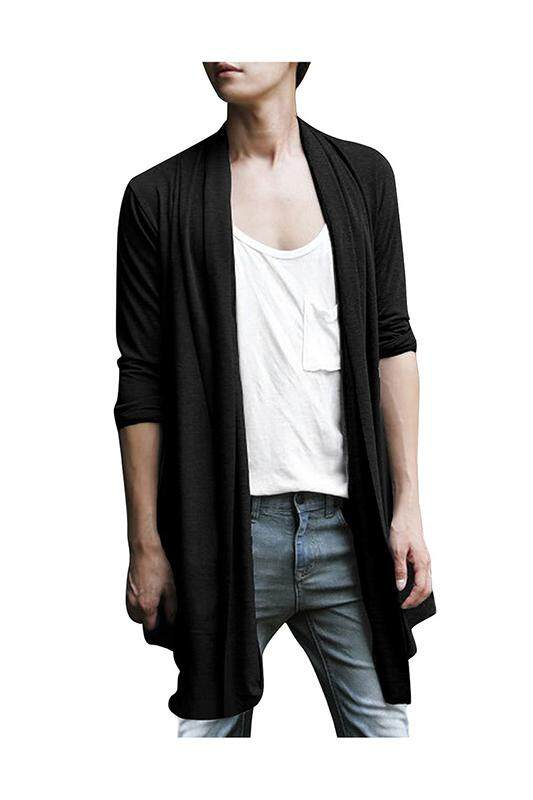 Men Shawl Collar High-Low Hem Long Cardigan Black L By Jwerlyday.
