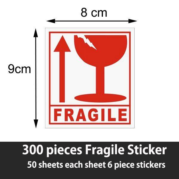 300 Pieces Fragile Sticker 9cm * 8cm By Homefit.