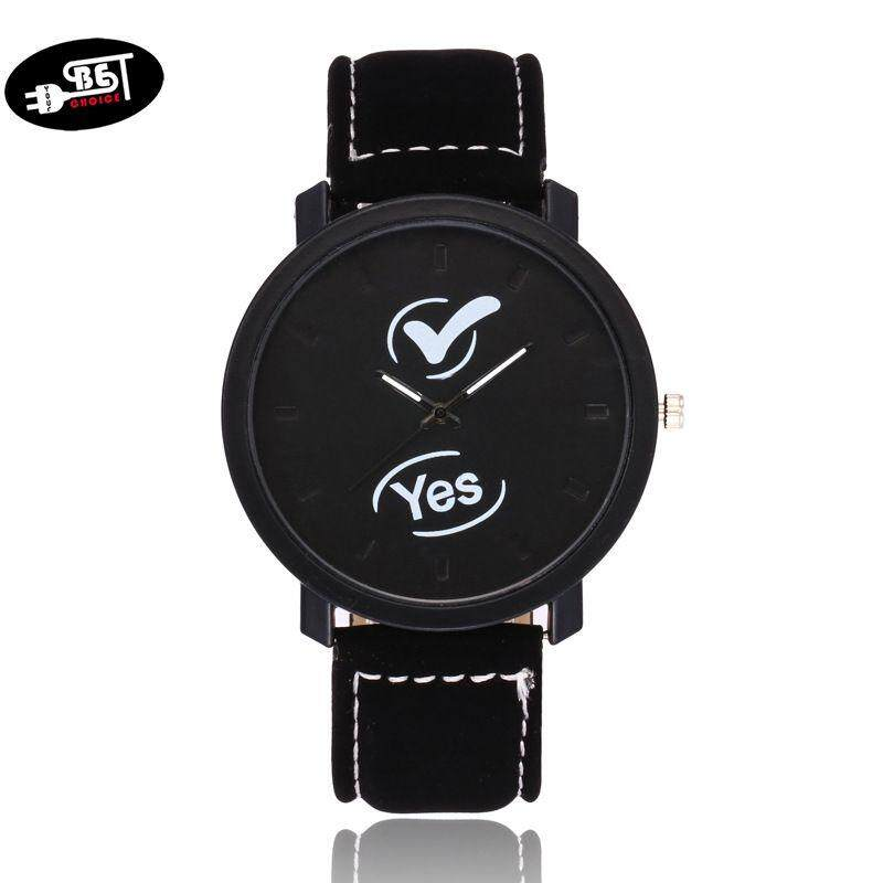 YBC Men Women Watches PU Leather Strap Round Dial Wristwatch Lovers Couple Casual Quartz Watch Malaysia