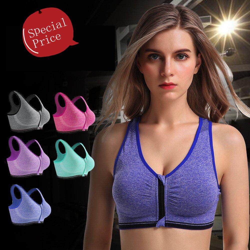 High quality Women Sports Bra Front Zipper Design No Rims Professional Shockproof Women Yoga Fitness Gym Running Bras(Ready stock)