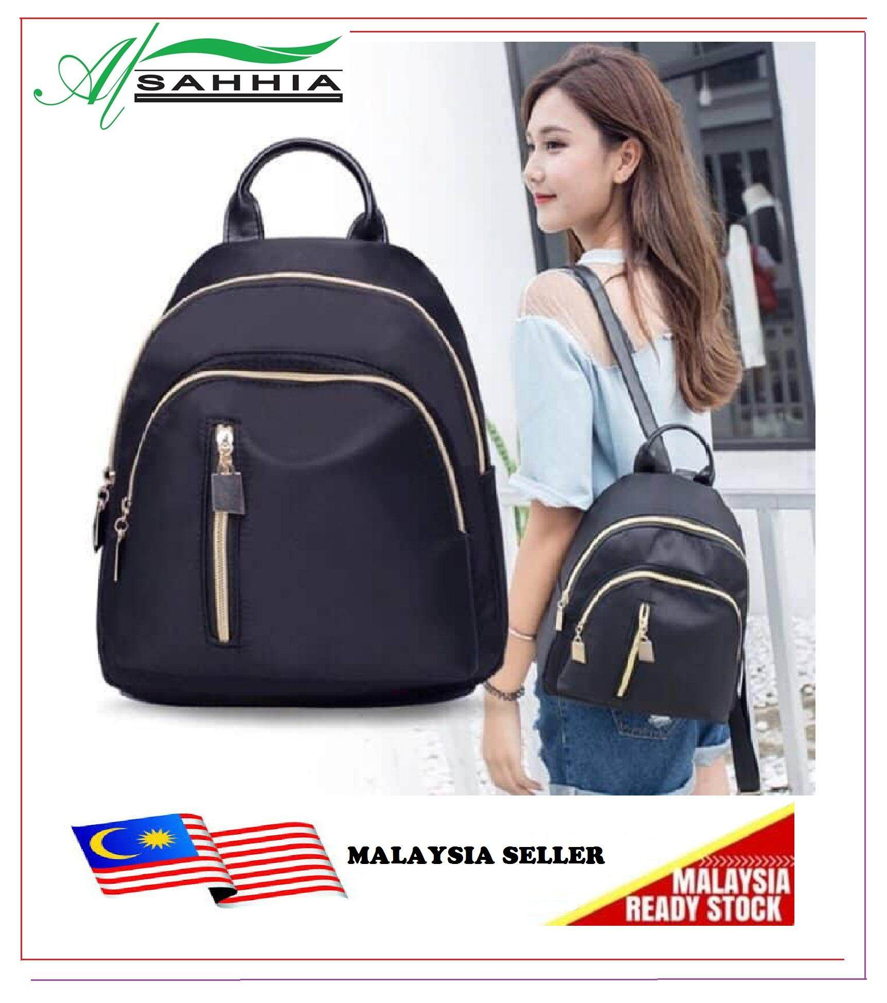 Al Sahhia Ready Stock Middle Straight Zip Backpack Casual Lady Beg