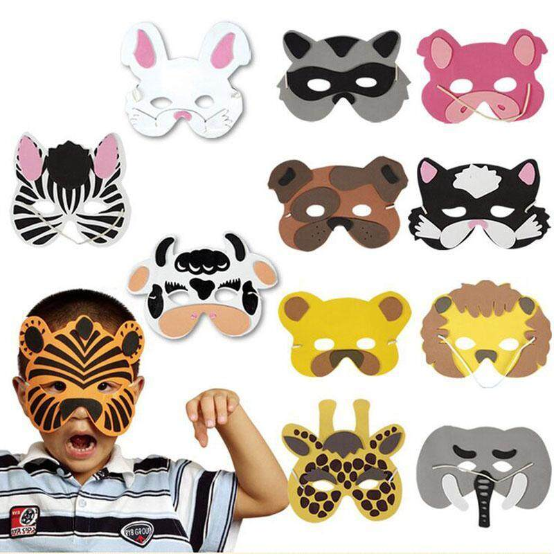 12Pcs Kids Cosplay Halloween Animal Head Masks Zoo Party Dress Costume Prop Toys