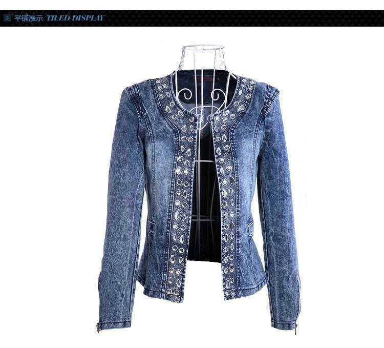 Fashion Women Diamonds Denim Jacket coat Ladies jacket Tops Slim Jeans  casaco Top plus size blazer beab7fd308