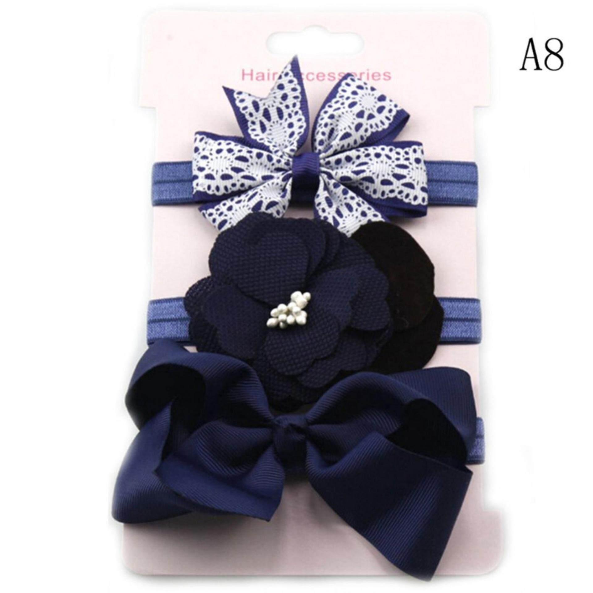 3pcs/set Newborn Girl Bow Headband Ribbon Elastic Baby Headdress Kids Hair Band Type:a8 By Dragon Store.