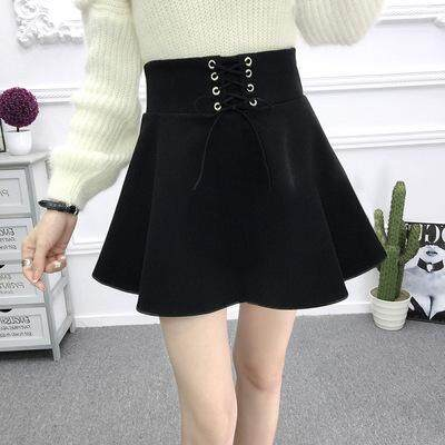 8d65c82de New Korean fashion casual student solid color woolen mini skirt
