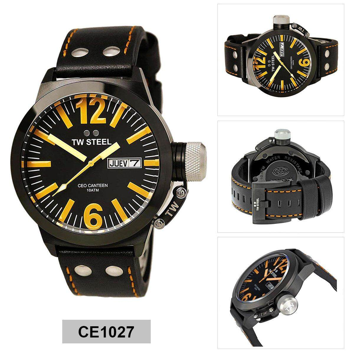 34606a280c0 TW Steel Canteen Black Stainless-Steel Case Leather Strap Mens CE1027