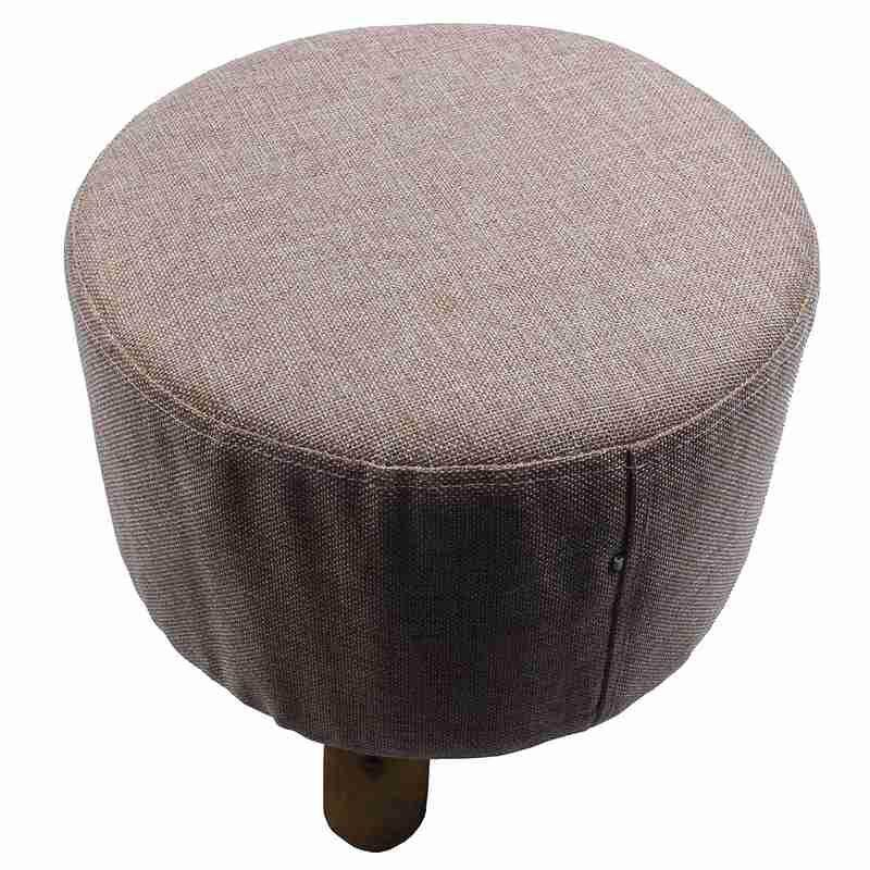 Modern Luxury Upholstered Footstool Round Pouffe Stool + Wooden Leg Pattern:round Fabric:grey(3 Legs) By Greatbuy666.