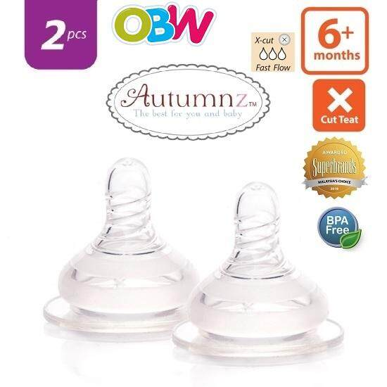 Autumnz - Soft Silicone Teat Fast Flow *2pcs* ( 6+ Months / X Cut ) By Onebabyworld.