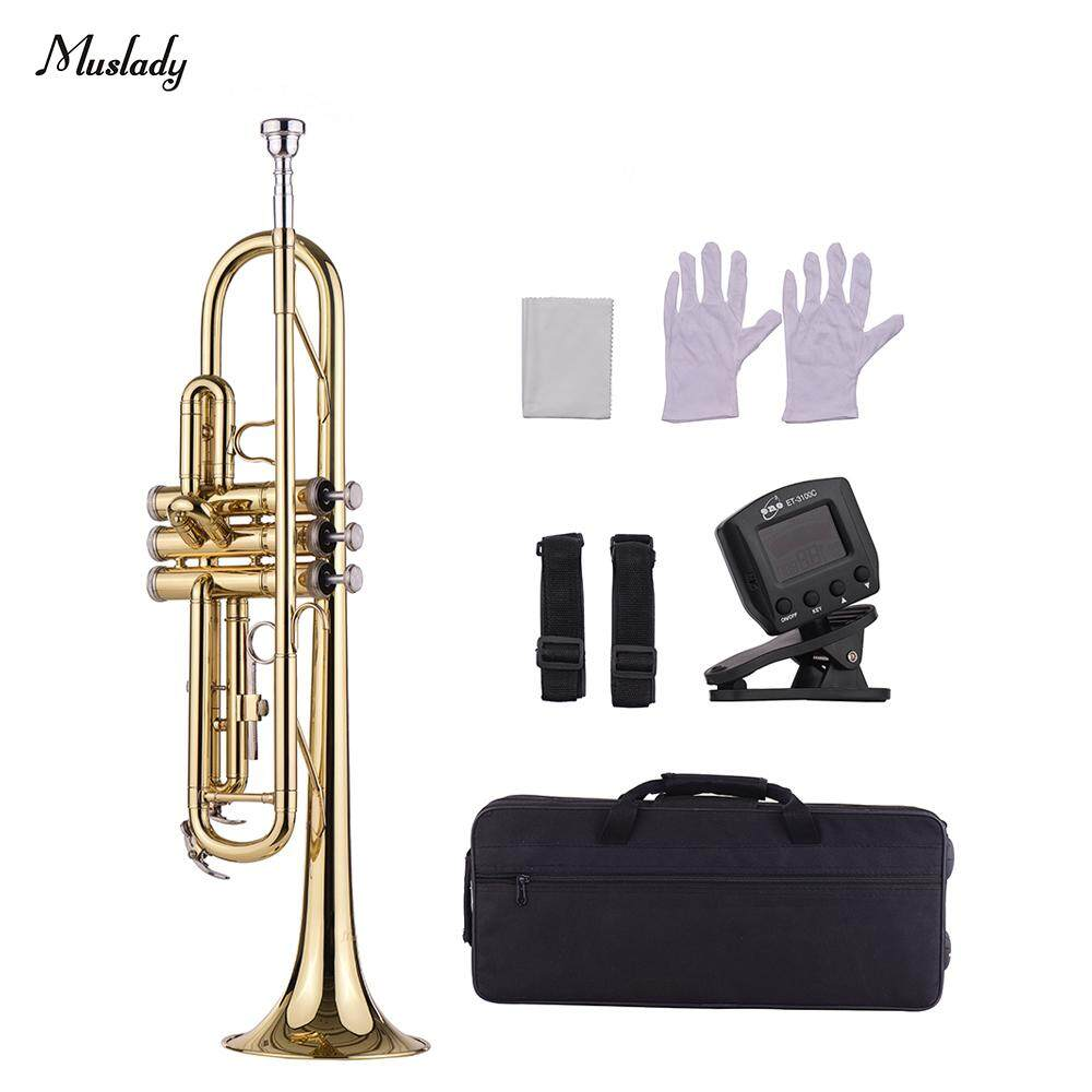 Muslady Standard Bb Brass Trumpet Wind Instrument with Mouthpiece Carry Bag Gloves Cleaning Cloth Tuner