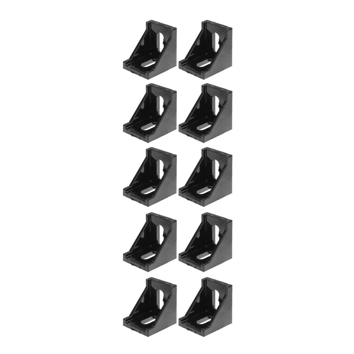 Suleve AJ28 28x28mm 10Pcs Black Aluminium Angle Corner Joint Right Angle Bracket Furniture Fittings