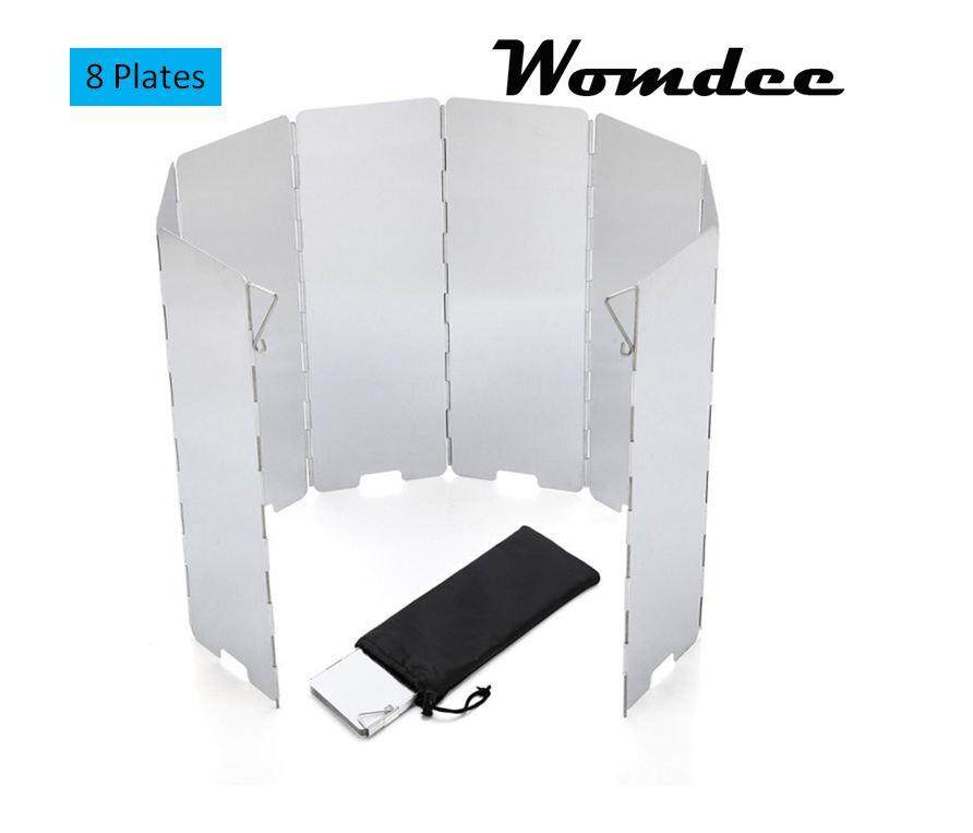 Womdee Camp Stove Windshield - 8 Plates Folding Camping Picnic Cooker Stove Wind Screen