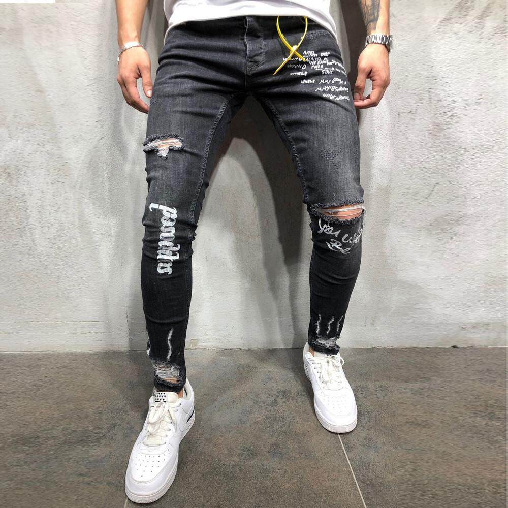 Fantnesty Mens New Black Elastic Foot Holes Print Letter Pant Fashion Jeans By Fantnesty.