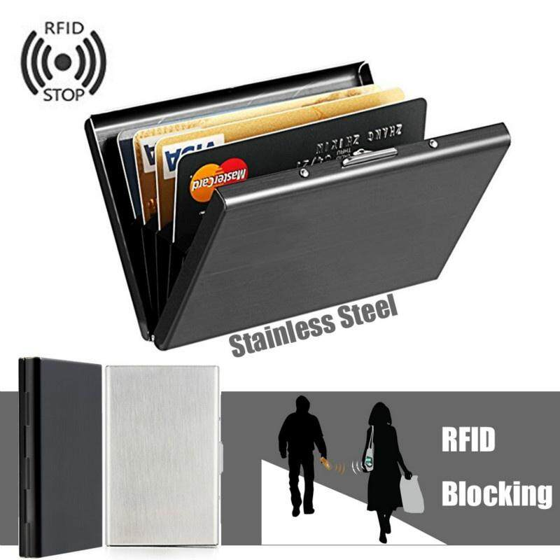 28e62c8c2e6c Ultra Thin Stainless Steel Wallets RFID Blocking Credit Card Wallet Holder  for Men   Women with