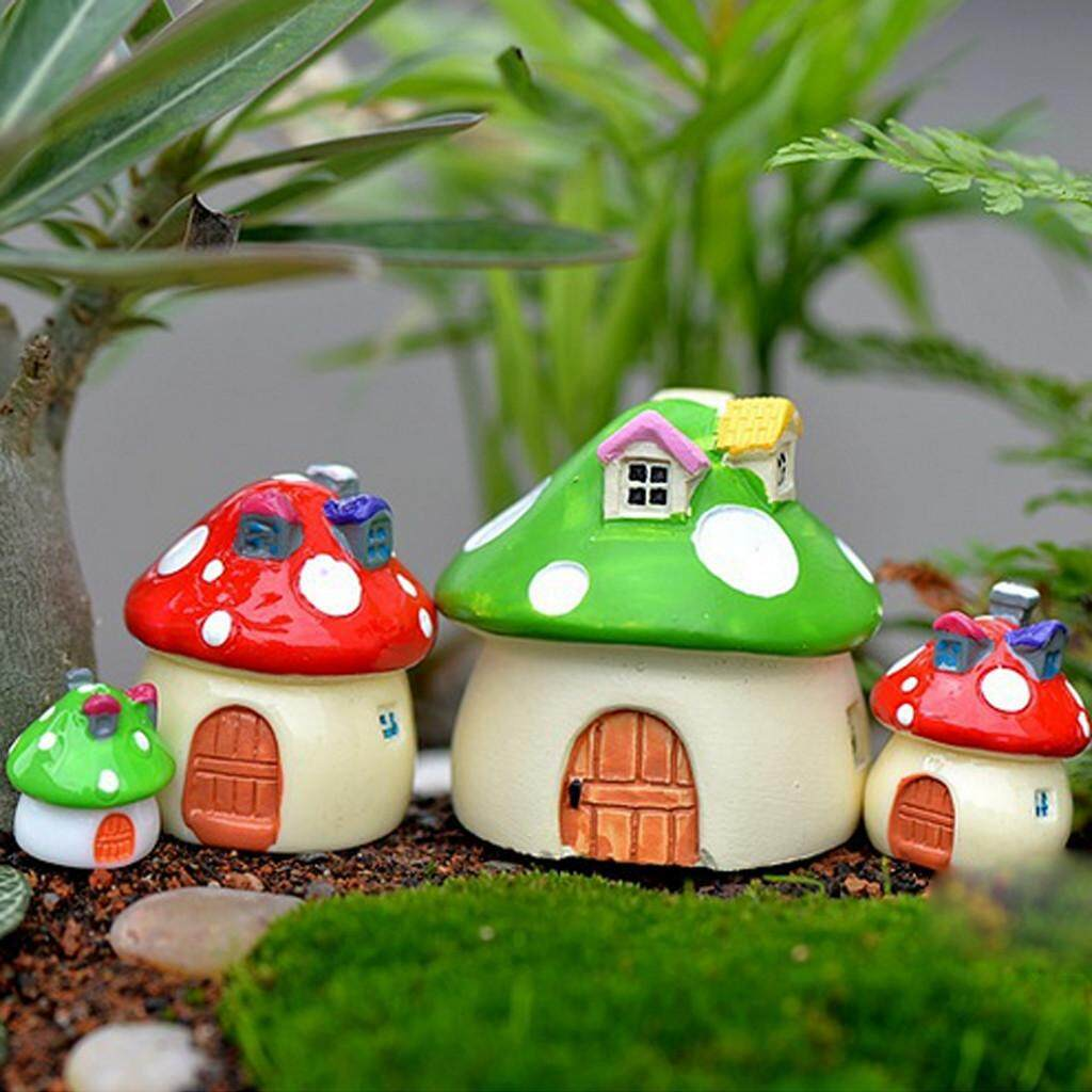 Dolity 10x Garden Dollhouse Resin Mushroom House Miniature Figurine Decor S Red