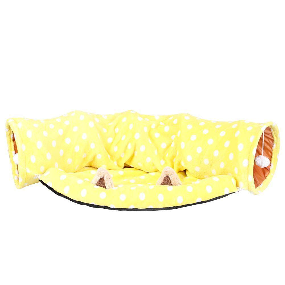 Cute Dog Cat 2 Way Tunnel Kitten Plaything Collapsible Pet Toys With Pet Bed By Companionship.