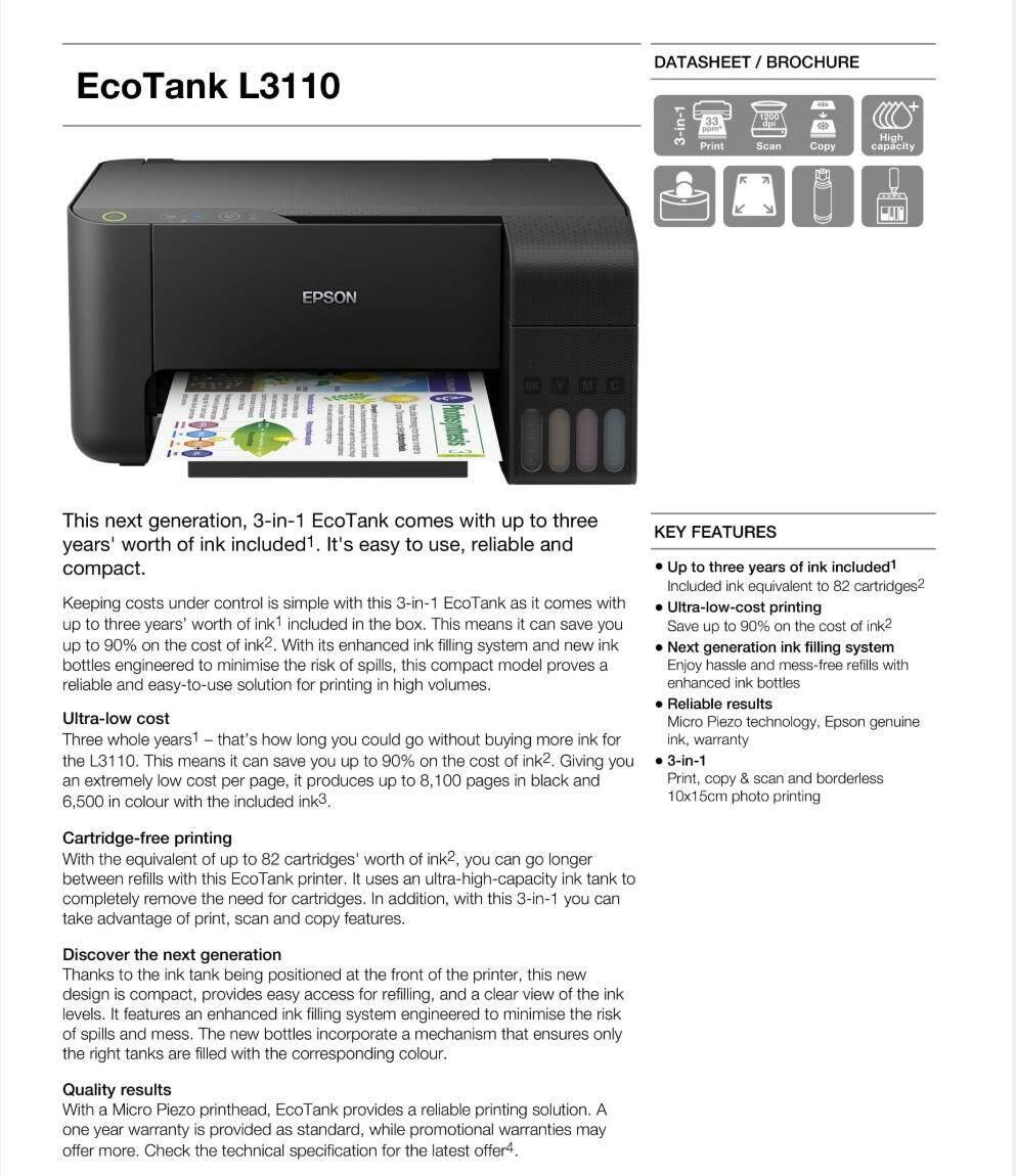 Epson Inkjet L3110 Printer Print Scan Copy Malaysia Lq310 Spesifikasi Oleh