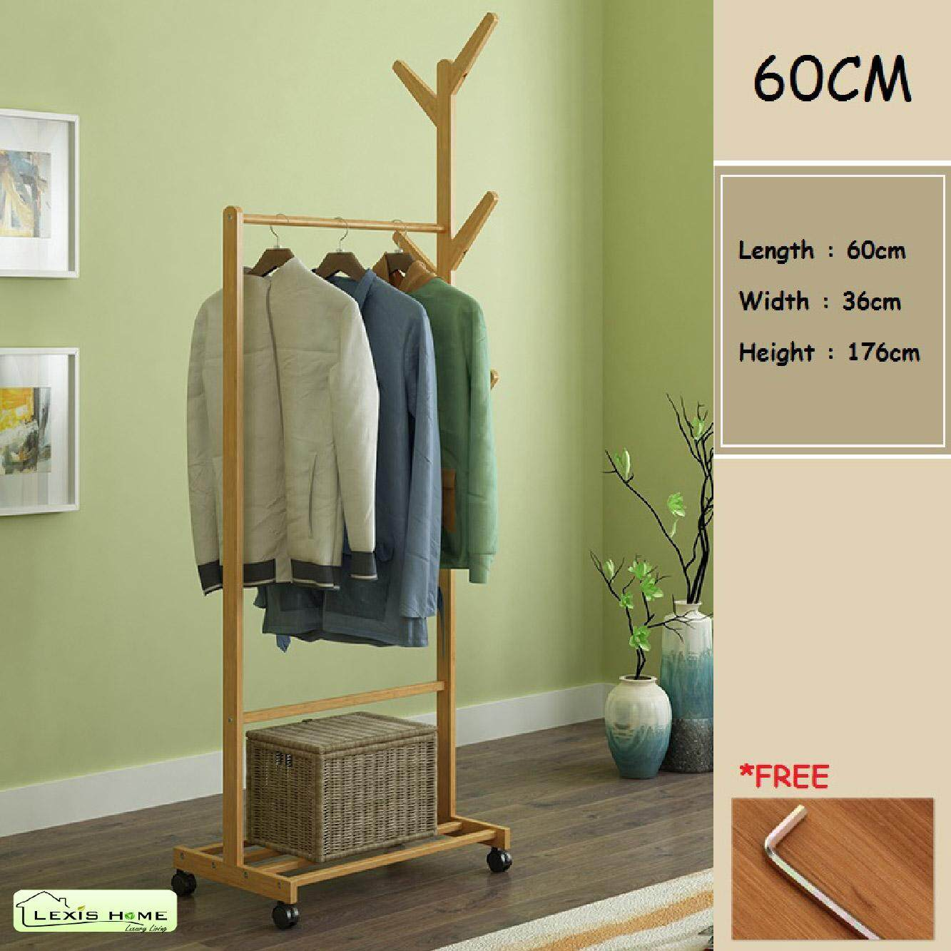 Lexis Home: 176cm x 60cm Clothes Hanger with Wheel (100% Bamboo Material)
