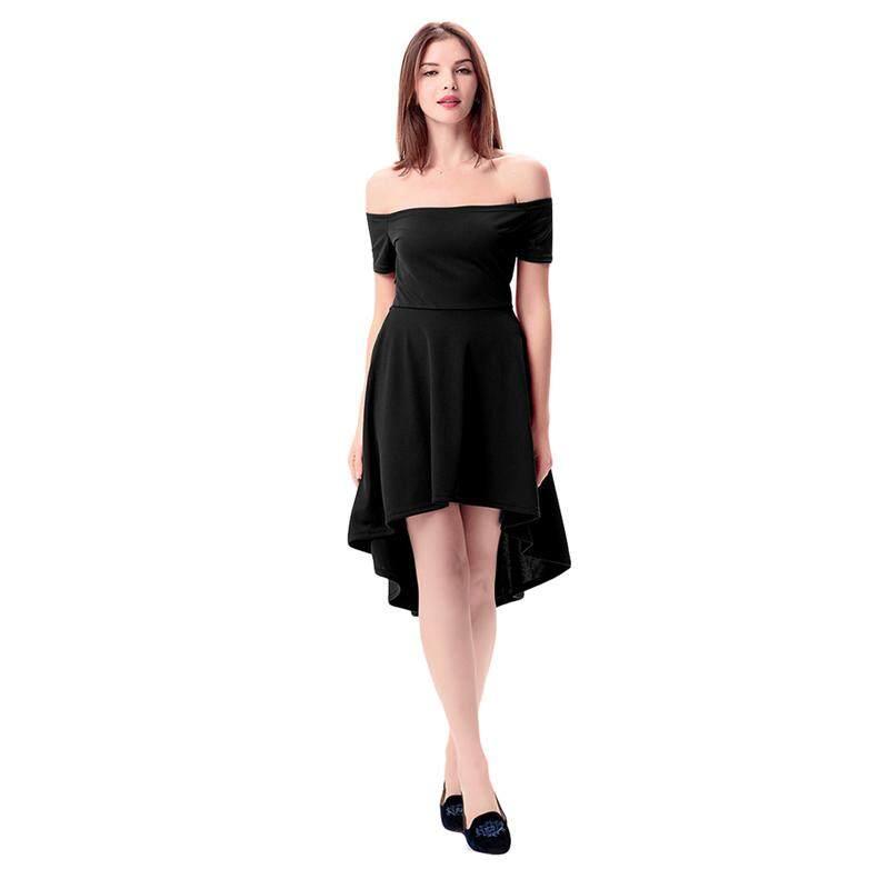 d79b336187c Women Fashion Irregular Sexy Clubwear Short Sleeved Strapless Mini Dress  Slash Neck Ball Gown Party Dress