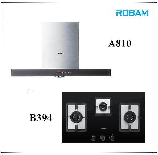 ROBAM A810 Chimney Hood + B394 3 Burners Glass Hob