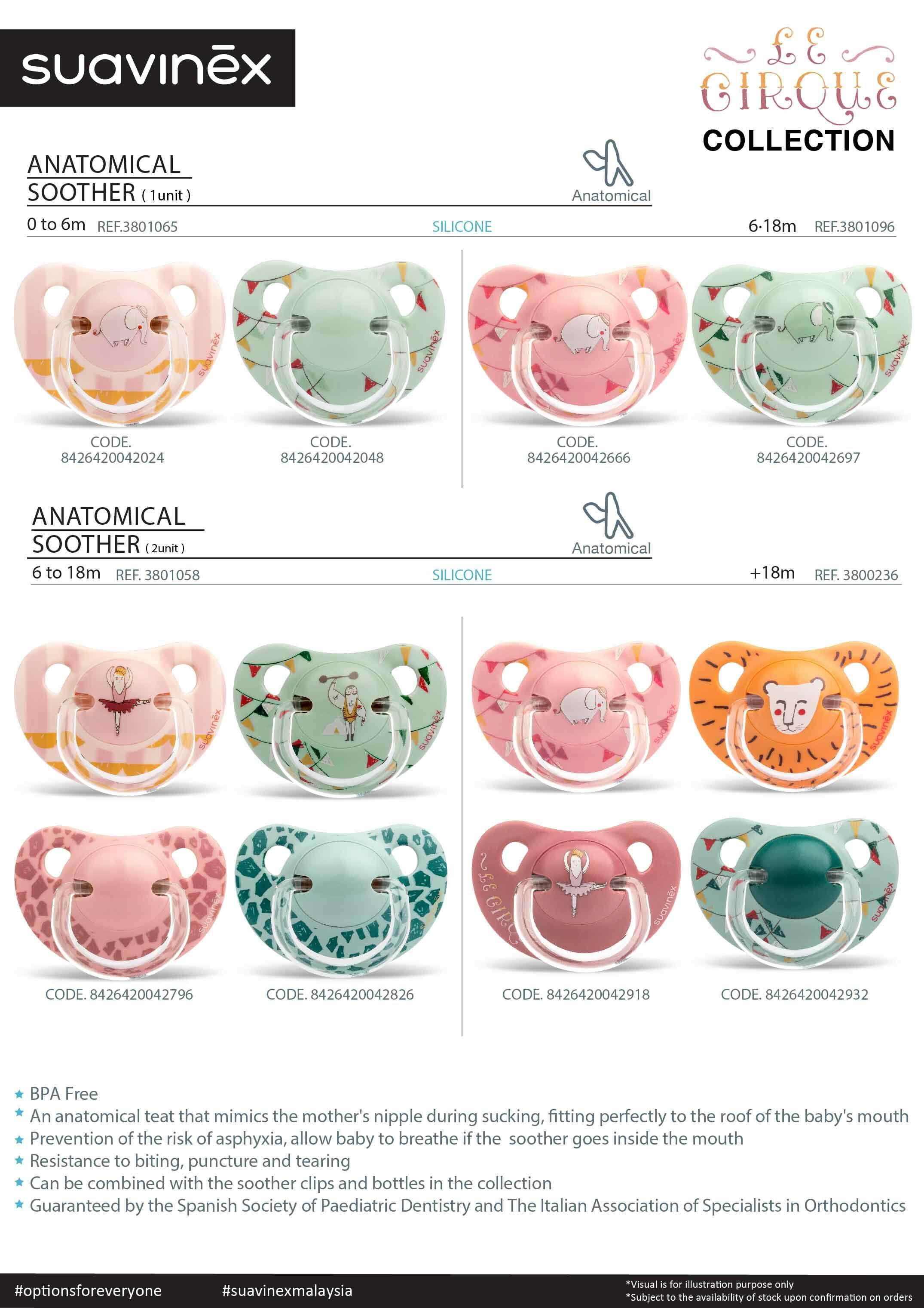 Suavinex Circus Collection BPA Free 6-18 Months Anatomical Silicone Soother Pacifier Clip Set (Green