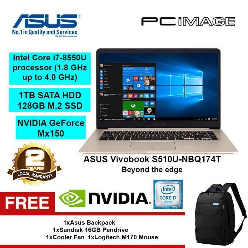 ASUS Vivobook S510U-NBQ174T (Intel i7-8550U, 4GB, 1TB+128GB, Mx150, W10) Notebook-Gold Malaysia