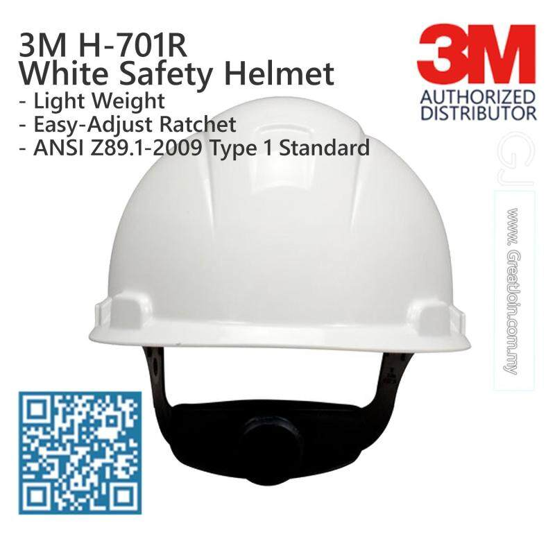 3M H-701R White Colour Safety Helmet/ Hard Hat/ 4-Point Suspension Ratchet Type/ ANSI Approval [1 piece] Made in USA
