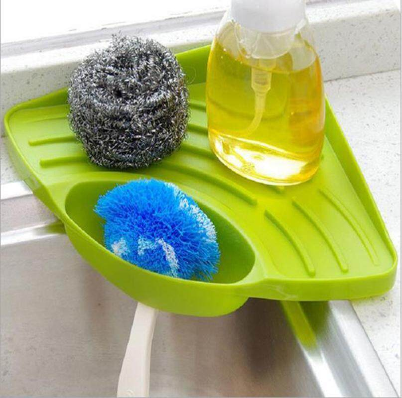 Ailin Triangular Kitchen Sink Multi Functional Rack For Storage Sponges Dishclothes Multicolor