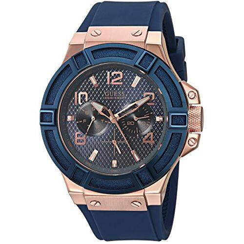 86003157f GUESS Men's Stainless Steel Silicone Casual Watch, Color Rose Gold-Tone/Rigor  Blue