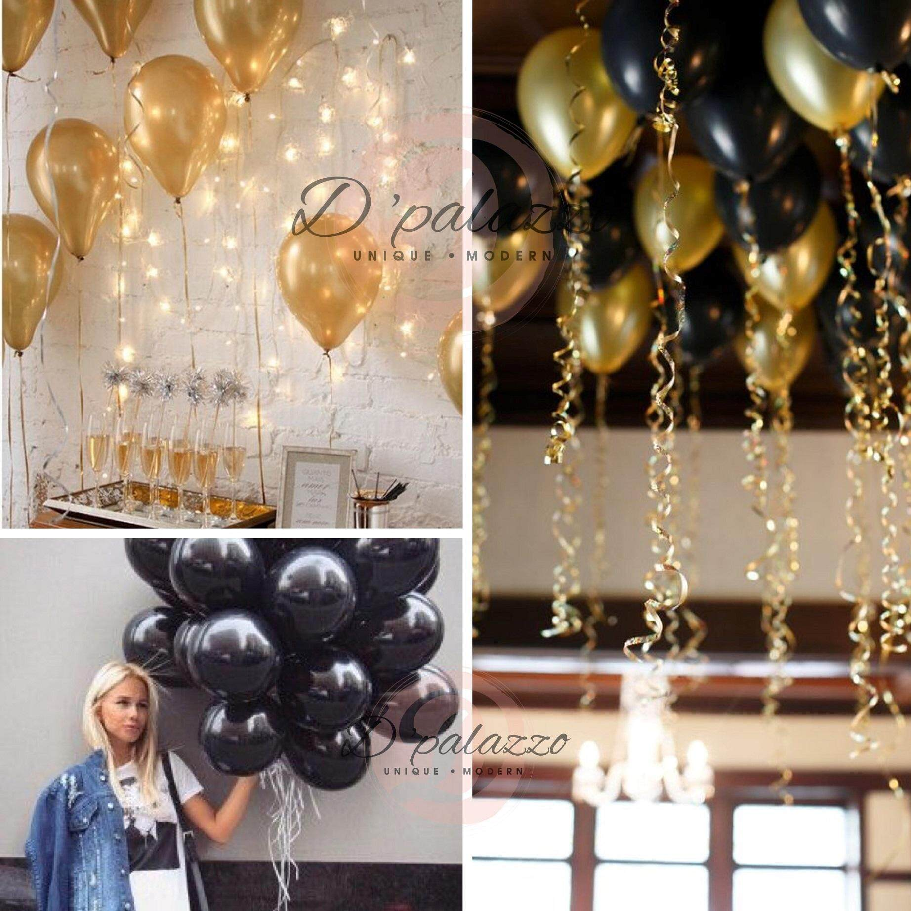12' Inch 3.2g Thicken Gold Balloon / Black Color Balloon Pearl Latex 10/20/50 By D Palazzo.