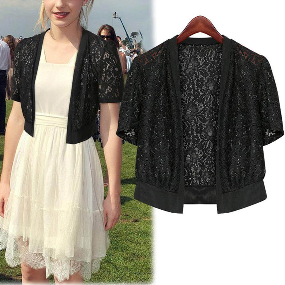 Fangfang Lace Shawl All-Match Short Openwork Cardigan Jacket - Black By Fangfang_719.