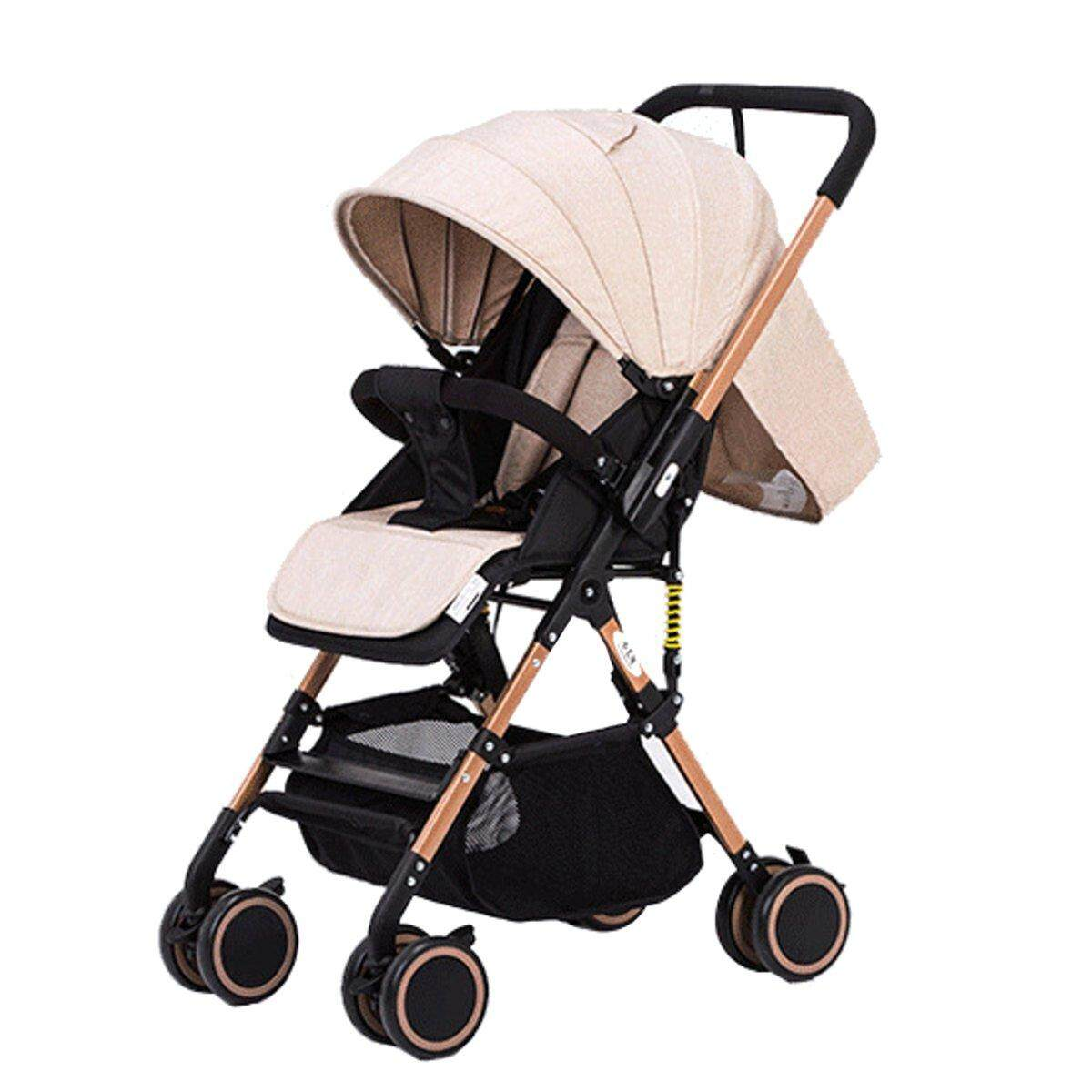 Baby Stroller Khaki Aluminum Alloy Lightweight Folding Four Wheel Cart By Audew.