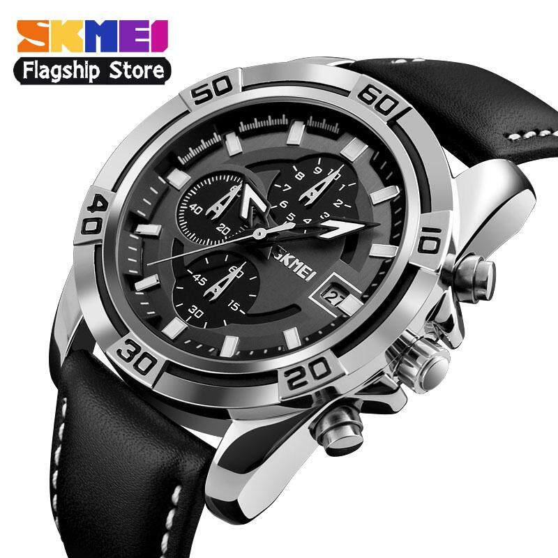 SKMEI Men Fashion Watches Sports Quartz Watch Clock Soft Real Leather Chronograph Waterproof Wristwatches 9156 Malaysia