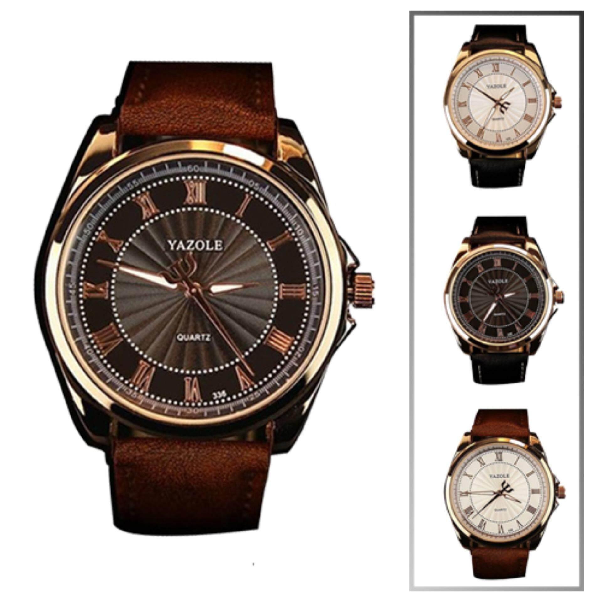 Yazole 336 Men Casual Fashion Quartz Watch(Black Brown)