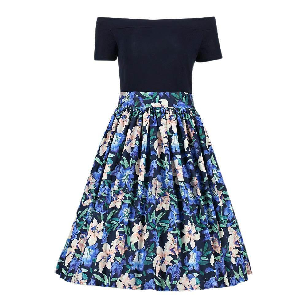 0ff07ce4970 Trendy Off The Shoulder Short Sleeve Floral Print Zipper Women A-line Dress