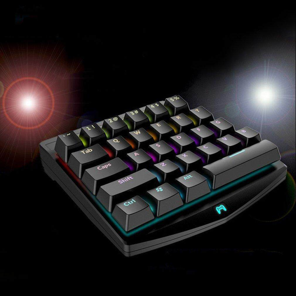 GOOD 28 Keys Single-handedly One Hand Design Mechanical Keyboard With LED Backlight Black Malaysia