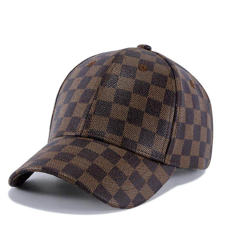 59e790c3176c1 Plaid Pattern Baseball Hat Men Gorras Para hombre PU Leather Snapback Cap  Spring Outdoor Hats For