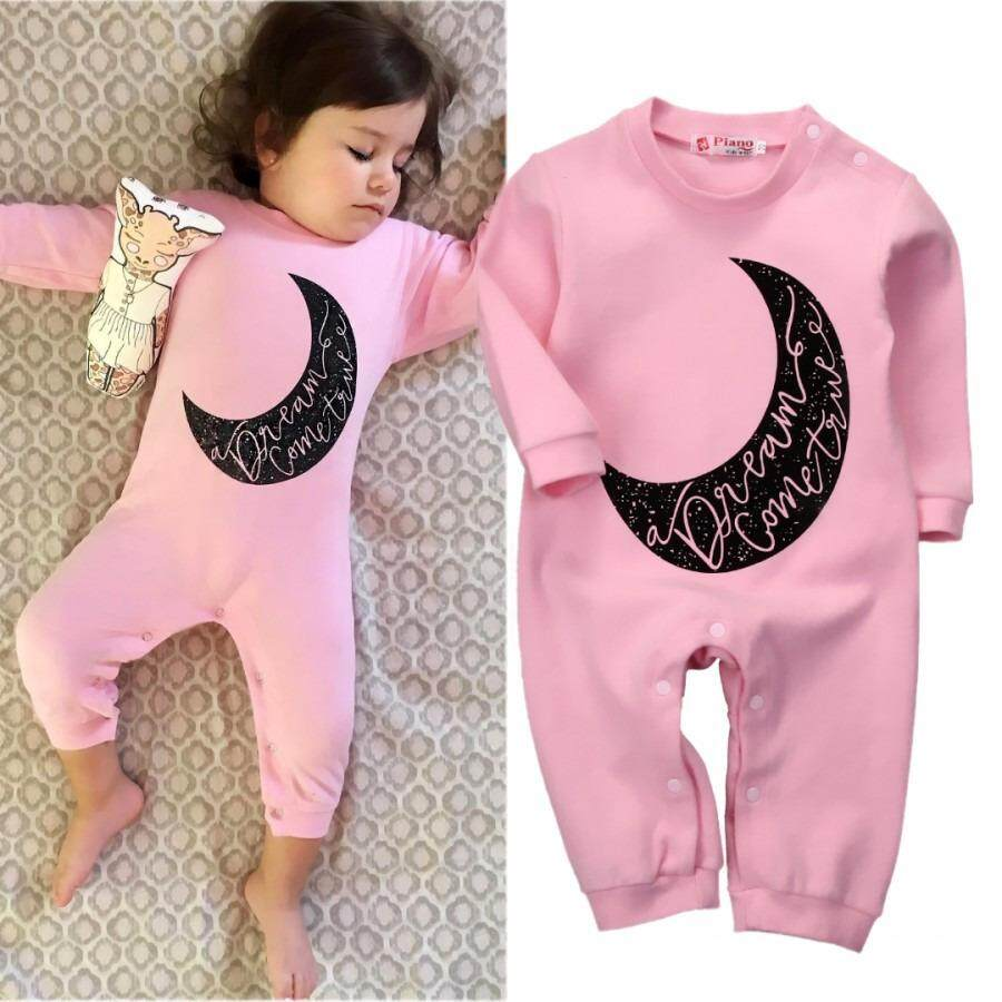0bda58b03ab5 Moon Pink Newborn Baby Girl Long Sleeve Romper Jumpsuit Sleepsuit Outfit  Clothes