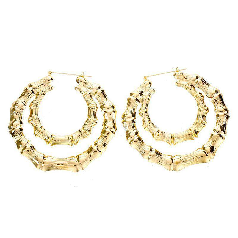 1 Pair Fashion Punk Bamboo Big Hoop Large Circle Earrings (gold) By Sunshineyou.