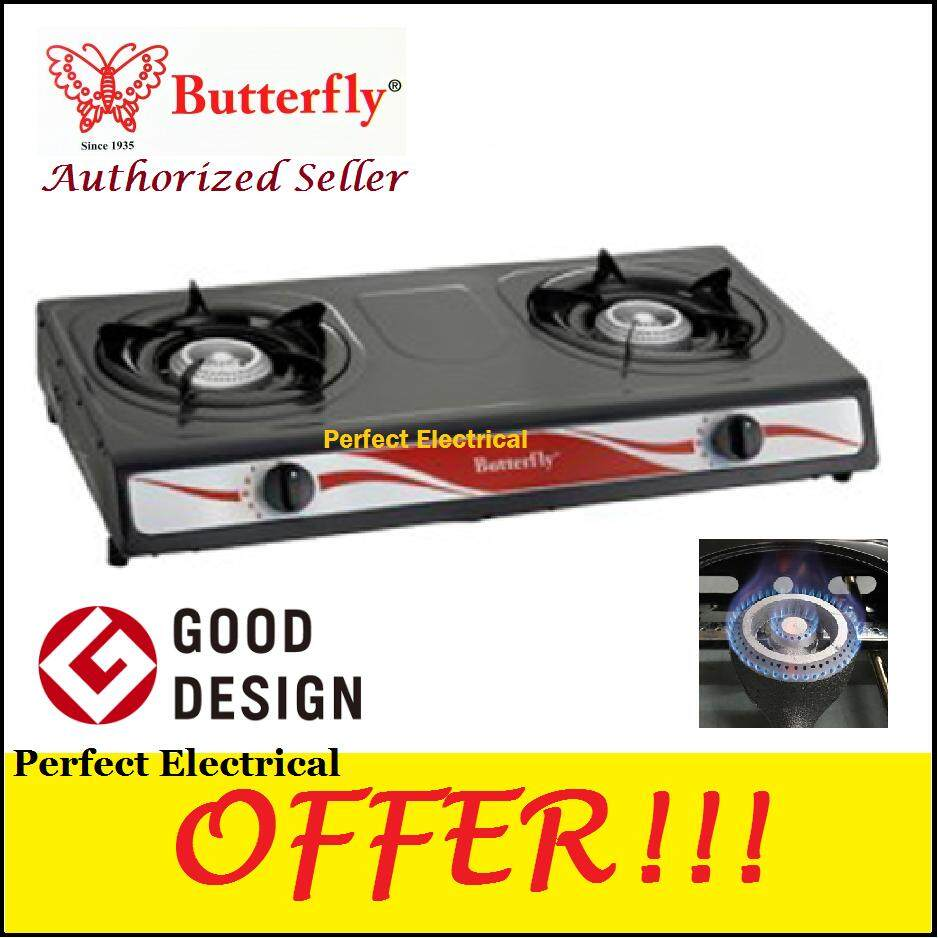 Erfly Bgc 666 Gas Stove Epoxy Double Burner Table Cooker Black