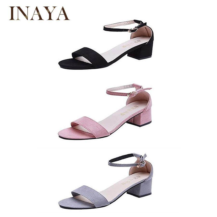 INAYA Women Thick MIDI Heel Open-Toe One-line Buckle Sandals
