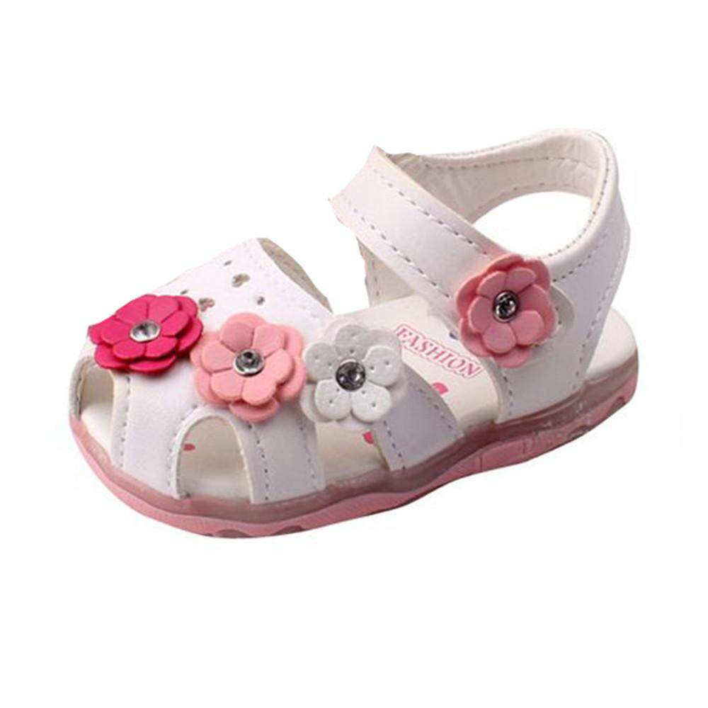 Myapple Toddler New Flowers Girls Sandals Lighted Soft-Soled Luminous Princess Shoes By Myapple.
