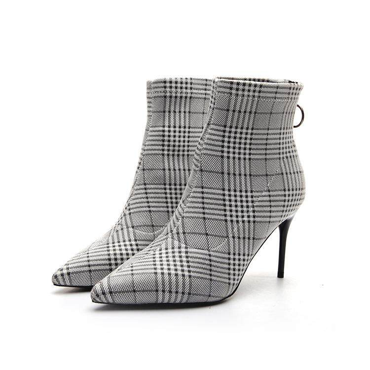 e1188f0d1e Women's Boots Thousand Birds Plaid Booties Sexy Super High-heeled Pointed  Booties