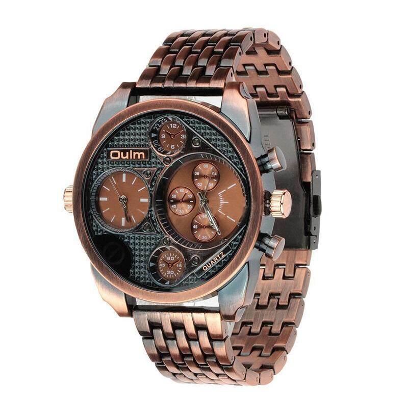 OULM Mens Fashion Dual Time waterproof Quartz Wrist Watch Copper Malaysia