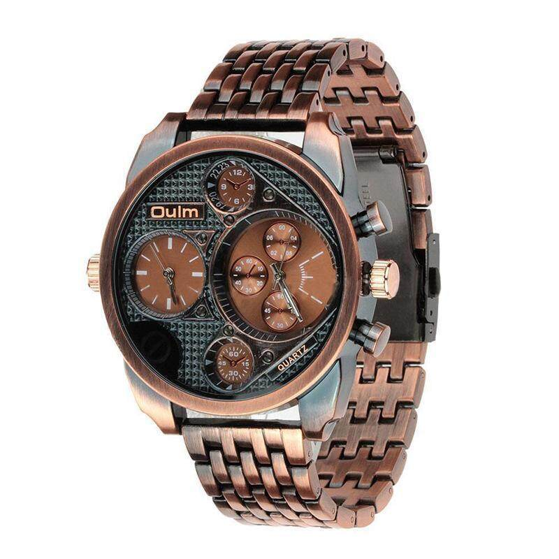 OULM Mens Fashion Dual Time waterproof Quartz Wrist Watch Copper Malaysia